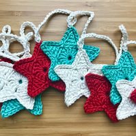 Mint, Cream and Red Christmas Crochet Star Garland