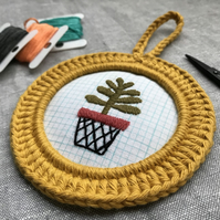 Pot Plant Embroidery Wall Decoration Hoop Art
