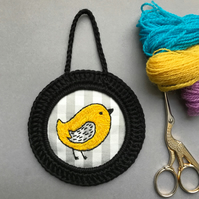 Yellow Pepper Bird Hand Embroidered Hoop Art Wall Decoration