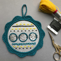Modern Stitch Sampler in Teal Wall Decoration Hoop Art