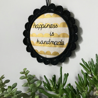 Happiness is Handmade Wall Decoration Hoop Art