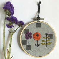 Hand Embroidered Floral Hoop Art Wall Decor, Floral Embroidery Free UK postage