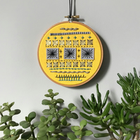 Geometric Embroidered Wall Decoration Hoop Art  Free U.K. postage