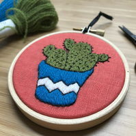 Tropical Cactus Hand Embroidered Hoop Art Wall Decoration