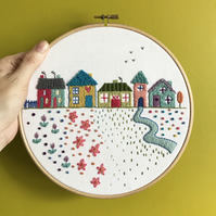 Little Street Hand Embroidered Hoop Art Wall Decoration