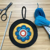 Bright Bloom Hand Embroidered Wool Felt Hoop Art