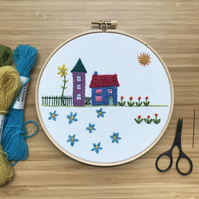 A House In The Country Hand Embroidered Hoop Art Free U.K. postage