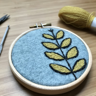 Plant Form Hand Embroidered Hoop Art