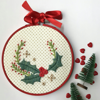 Christmas Wreath Hand Embroidery, Hoop Art, Christmas Decoration Free UK postage
