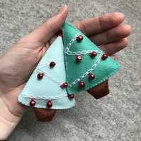 Hand stitched Jingle Bell Christmas Tree Decoration- set of two