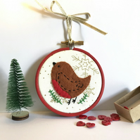 Christmas Robin Decoration, Tree decoration, Hoop Art, Embroidered Decoration