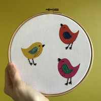 Three Birds Hand Embroidered Digital Print Hoop Art Wall Decoration
