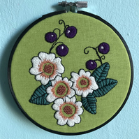 Hedgerow Hand Embroidered Hoop Art Wall Decoration