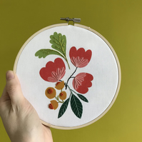 Garden Sprig Hand Embroidered Digital Print Hoop Art Textile Art