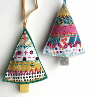 Hand Embroidered Felt Tiny Tree Lavender Bag- set of 2