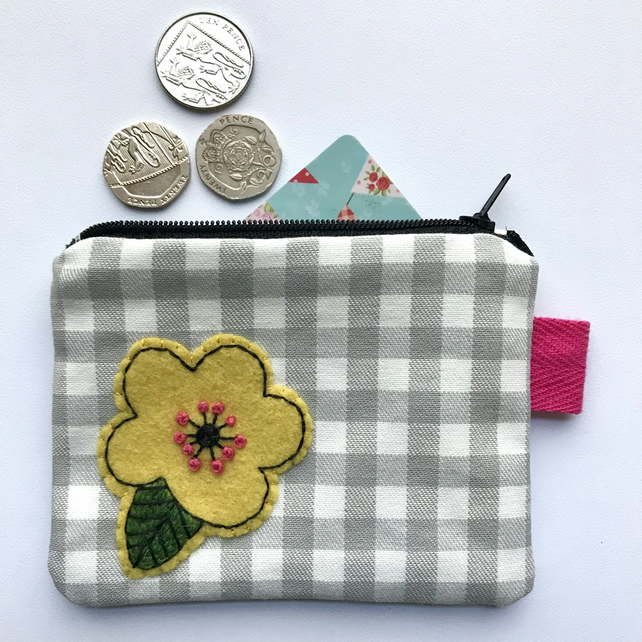Hand Embroidered Coin Purse- Yellow Flower