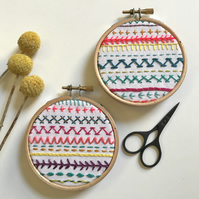 Set of 2 Mini Stitch Sampler Wall Decoration- set of 2