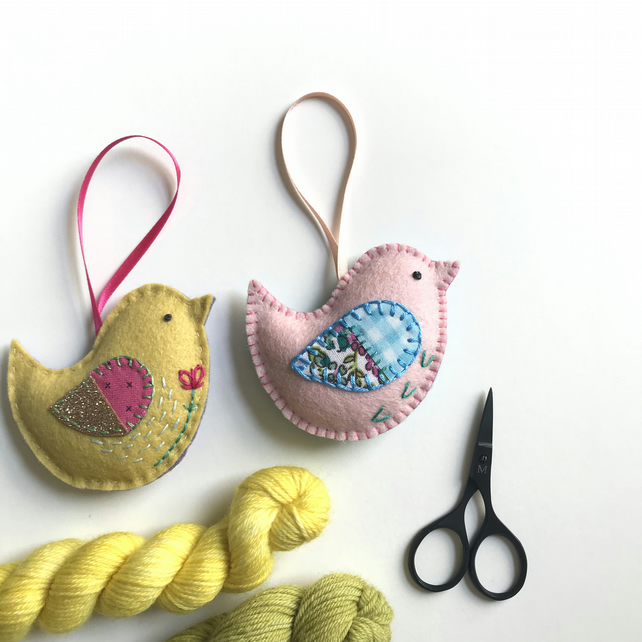 Hand Embroidered Felt Bird Lavender Bag- set of 2