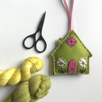 Hand Embroidered Felt House Lavender Bag