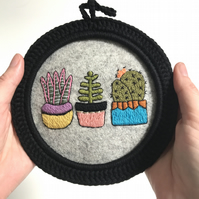 Cactus Trio Hand Embroidered Hoop Art Wall Decoration