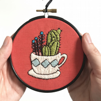 Teacup Cactus Collection Hand Embroidery, Crewel Embroidery, Wall Decoration