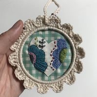 Embroidery, Floral, Heart,  Wall Decoration Sale