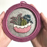Cactus Garden Hand Embroidered Hoop Art Wall Decoration Free U.K. postage