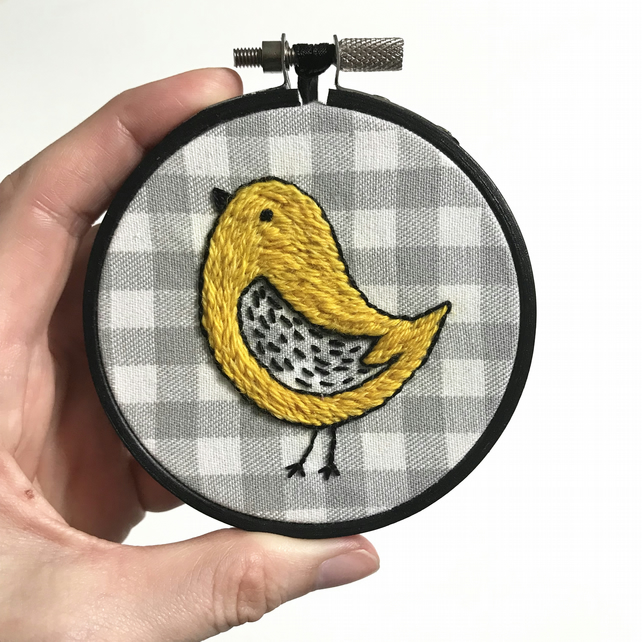 Yellow Mustard Chirpy Bird Embroidered Wall Decoration