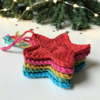 Crochet Star Bright Rainbow Tree Decorations - set of 5