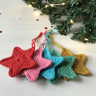 Crochet Star Pastel Rainbow Tree Decorations - set of 5