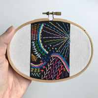 Mini Freestyle Hand Embroidery Sampler Wall Decoration, Textile Art