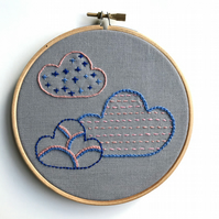 Three Clouds Hand Embroidery Wall Decoration Hoop Art