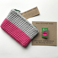 Crocheted Purse and Badge Gift Set- Pink, Green and Grey