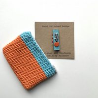 Crocheted Purse and Badge Gift Set- Turquoise and Orange