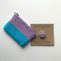 Crocheted Purse and Badge Gift Set
