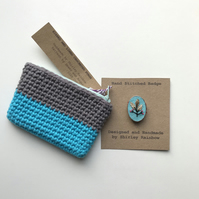 Crocheted Purse and Badge Gift Set - Grey and Turquoise