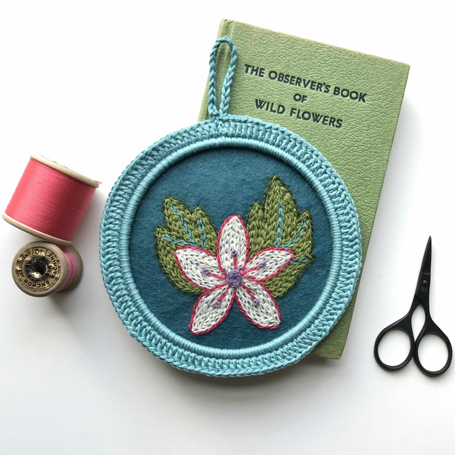 Hand Embroidered Flower in Crocheted Frame Wall Decoration