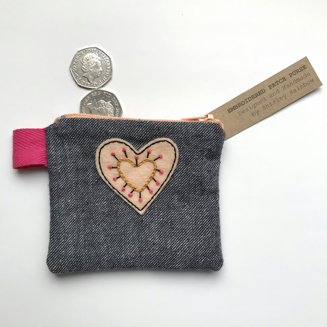 Hand Embroidered Coin Purse- Peachy Heart