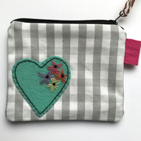 Hand Embroidered Coin Purse- Mint Floral Heart