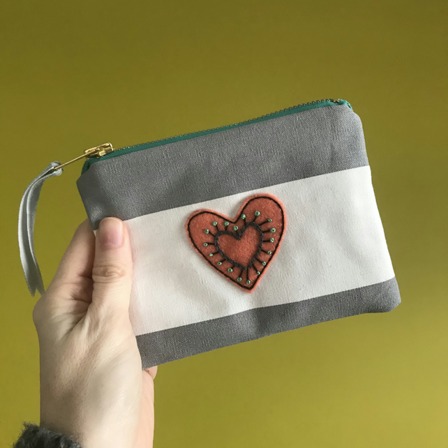 Hand Embroidered Purse- Peach Heart