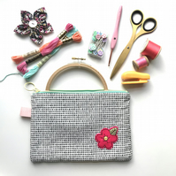 Cotton Project Bag with Hand Embroidered Flower