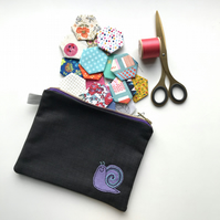 Denim Zipped Project Bag Useful Pouch with Hand Embroidered Snail