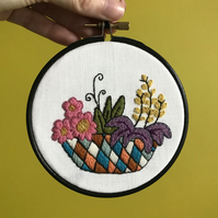 Joyful Garden Planter Hand Embroidered Hoop Art Wall Decoration