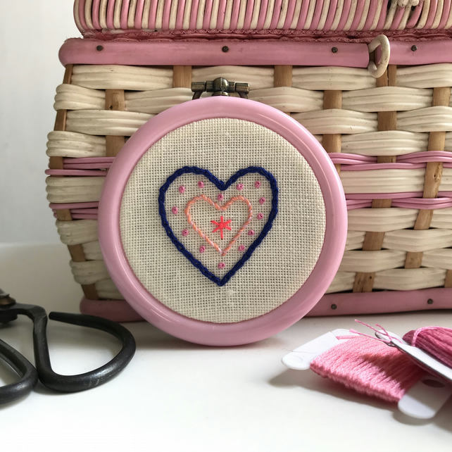 Love Heart Hand Embroidered Mini Wall Decoration