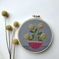 Yellow Pompom Flower Wall Decoration Embroidery Hoop Art