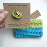 Crocheted Purse and Badge Gift Set - Turquoise and Lime