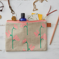 Sweet Peas Floral Hand Screen Printed Linen Purse