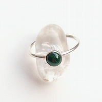 Malachite Stacking Ring Ring size R half Sterling Silver