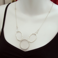 Circle and Oval Necklace , Statement Necklace,  Bib Necklace, Sterling Silver