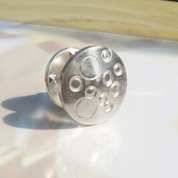 Man's Silver Tie Pin Handmade Bubbles Tie Pin Lapel pin